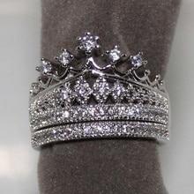 2pcs/set Exquisite Womens Rings Set Fashion Crown Design Rhinestones Zircon Rings For Women Accessories Wedding Engagement Gift