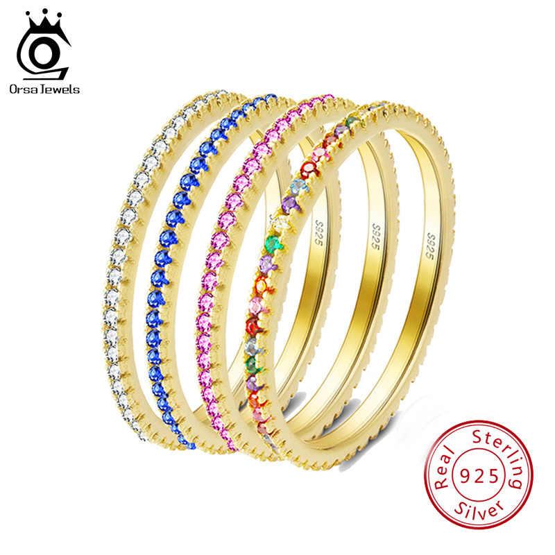 ORSA JEWELS, женские кольца из твердого 925 пробы серебра, аксессуары, микро инкрустированное красочное циркониевое кольцо, S925 серебро, хорошее ювелирное изделие OSR63