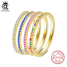 цена ORSA JEWELS Solid 925 Sterling Silver Women Rings Accessories Micro-inlaid Colourful Zircon Ring S925 Silver Fine Jewelry OSR63 онлайн в 2017 году