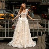 Smileven A Line Wedding Dress Glitter Boho Bridal Dresses Sweetheart Neck arabic Vestido De Noiva Corset Wedding Gowns For Girl