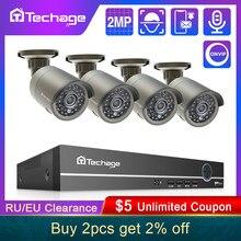 Techage-sistema de seguridad CCTV para exteriores, Kit de NVR POE HD H.265 de 8 canales, 2MP, 1080P, cámara IP con grabación de Audio, P2P, videovigilancia