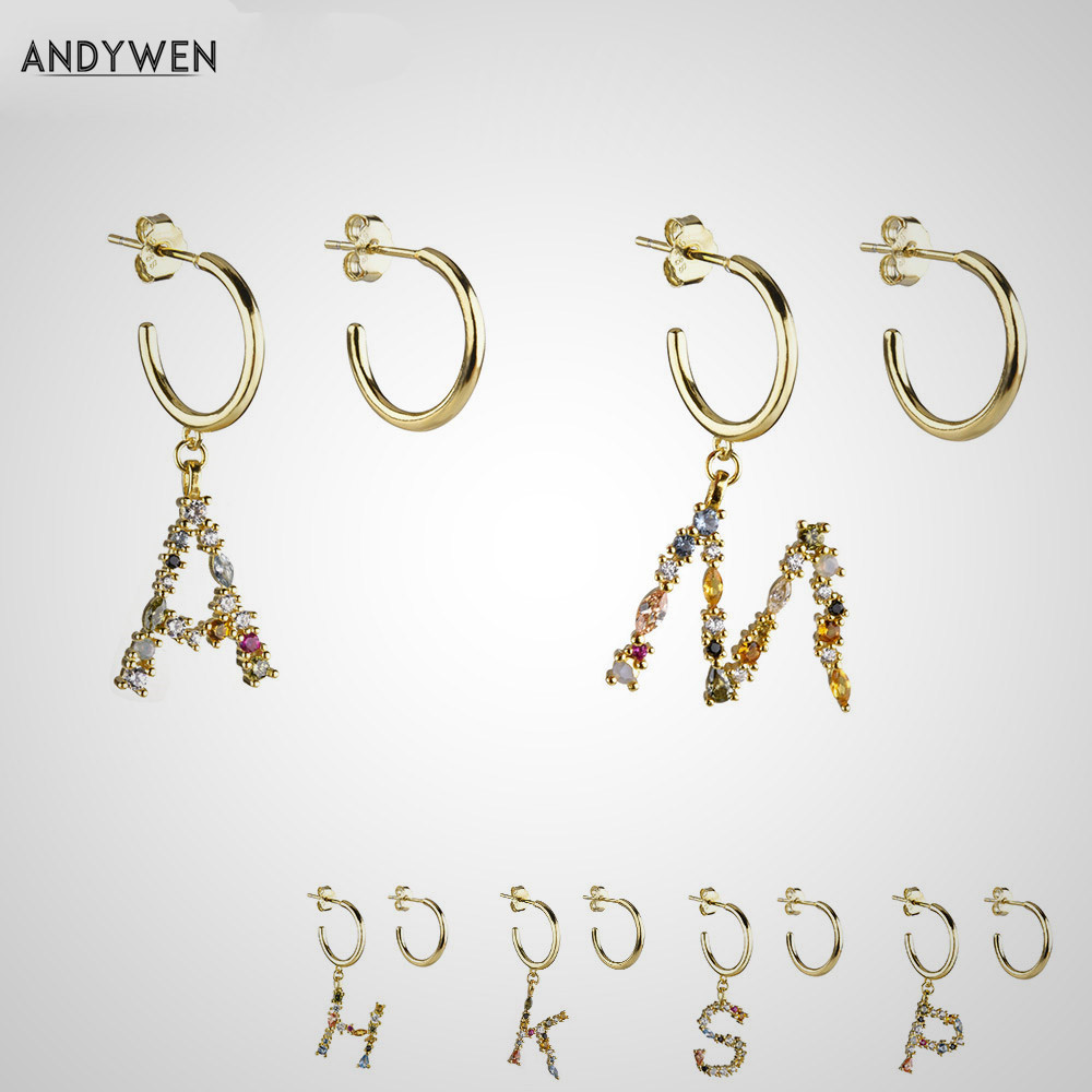 925 Sterling Silver Initial A Crystal Ear Studs