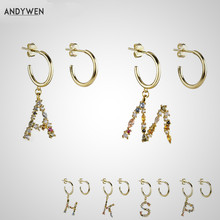 ANDYWEN 925 Sterling Silver Crystal Letter A M Hoops Drop Dangle Earring Alphabet K Initial E Charm Earrings Women 2020 Jewelry