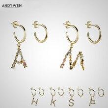 ANDYWEN 925 srebro kryształ litera A M Hoops wypadnij zwisają kolczyk alfabet K początkowe E magiczne kolczyki kobiety 2020 biżuteria