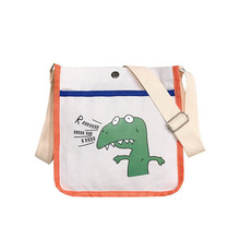 цена на KANDRA 2019 Dinosaurs Canvas Tote Bag White Cartoon Pattern Student Canvas Shoulder Bag Foldable Shopping Bag Beach Bag Female