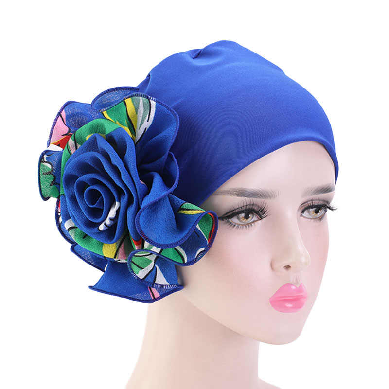 Helisopus New Women Elastic Headwrap Big Flowers Printed Turban Fashion Head Wraps Muslim Hat Ladies Hair Accessories
