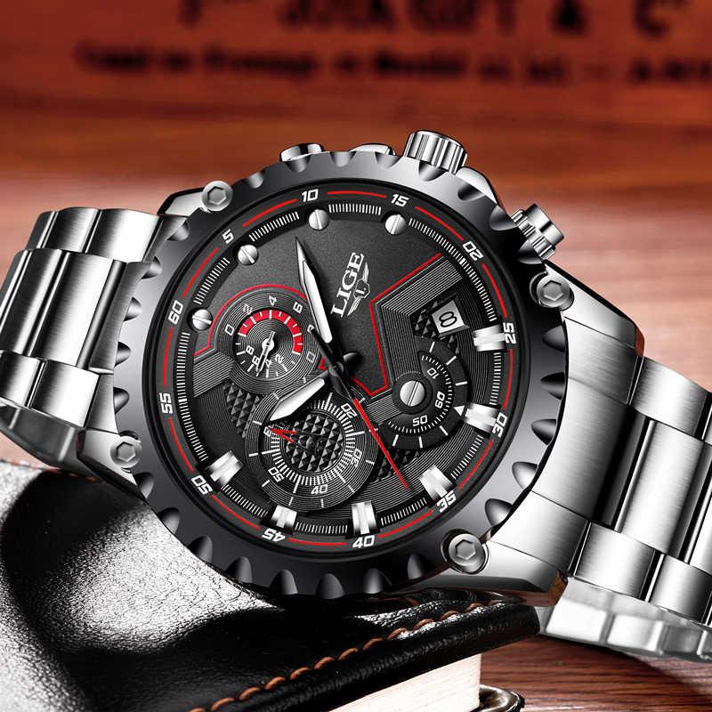 LIGE 새로운 패션 쿼츠 시계 남성 브랜드 럭셔리 스포츠 남성 시계 군사 방수 크로노 그래프 시계 Relogio Masculino