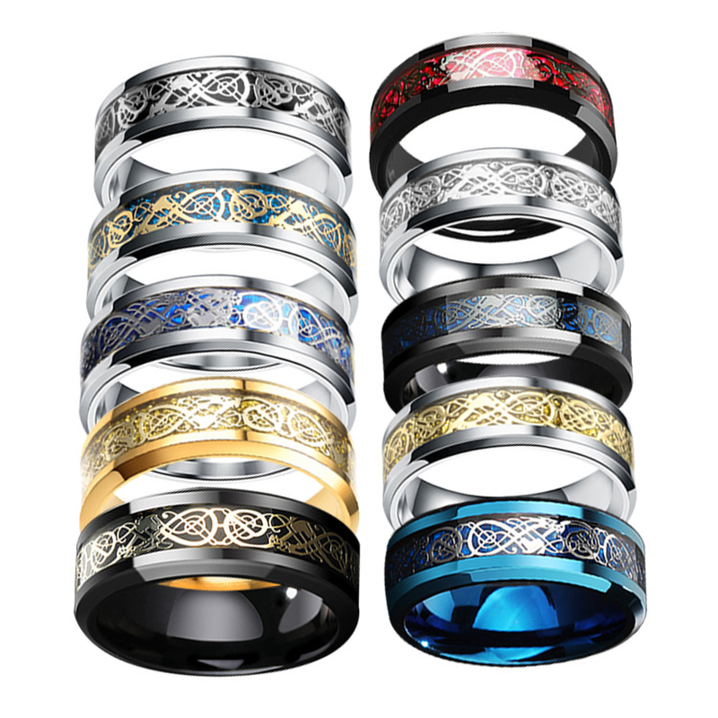 Cross-border Europe and the US explosive titanium Steel Dragon ring set silver Dragon Gold film Men's ring jewelry manufacturers