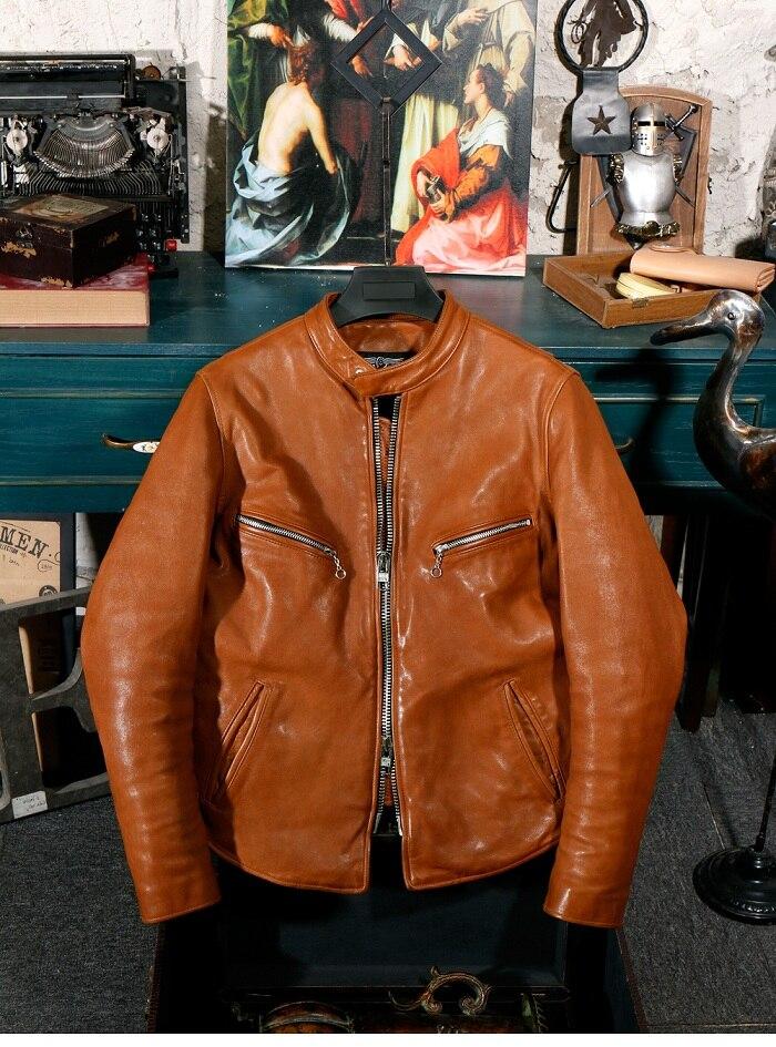 YR!Free Shipping.Pakistan Washed Leather.Brand Luxury Vintage Motor Style Tanning Sheepskin Jacket,men Slim Genuine Leather Coat