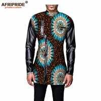 Afrikaanse kleding 2018 herfst mannen jas AFRIPRIDE volledige mouw single breasted casual coat katoen en faux fur patchwork A731404