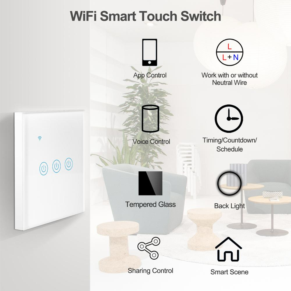 Tuya Smart Wifi Touch Light Switch EU 220V, No Neutral Wire Required Wall Switch 1/2/3/4 Gang, Compatible with Alexa Google Home 2