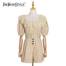 TWOTWINSTYLE Elegant Patchwork Women Playsuit Square Collar Lantern Half Sleeve High Waist Sashes La