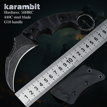 Karambit Claw Knife CSGO Tactical Combat Pocket Knives 440C Steel Fixed Blade G10 EDC Tools for Outdoor Camping Self Defense