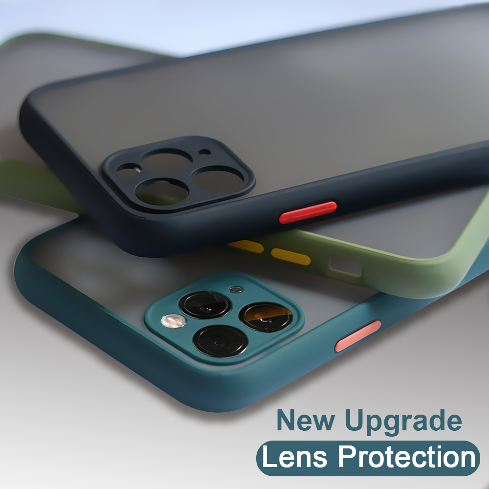 Camera Lens Protection Phone Case For iPhone 11 Pro Max Luxury Contrast Color translucent Matte PC Back Cover For iPhone 11 Pro image