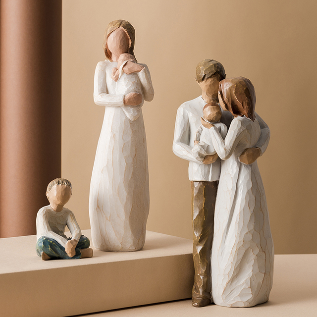 Nordic Love Family Resin Figurines Ornaments  Family Happy Time Mum Dad and Children Home Decoration Accessories For Living Room 3