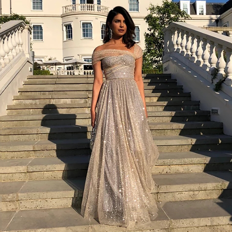 Eightree A Line Shinny Prom Dresses Sequins Backless Formal Prom Party Dresses Long Floor Length Off The Shoulder Formal Gown