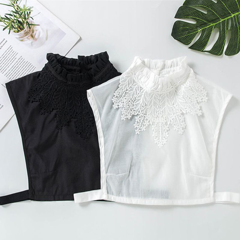 Women Girl Blouse Fake Ruffle Stand Collar Crochet Floral Lace Applique Decor Solid Color Detachable Ladies Stretchy Half Shirts