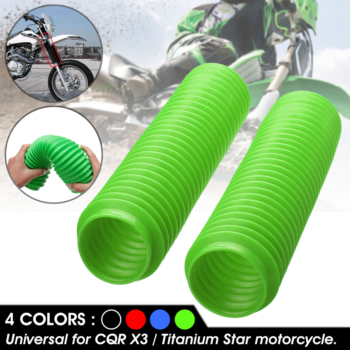 Motorcycle Fork Dustproof Cover Gaiters Boots Gaitor 230mm x 35mm
