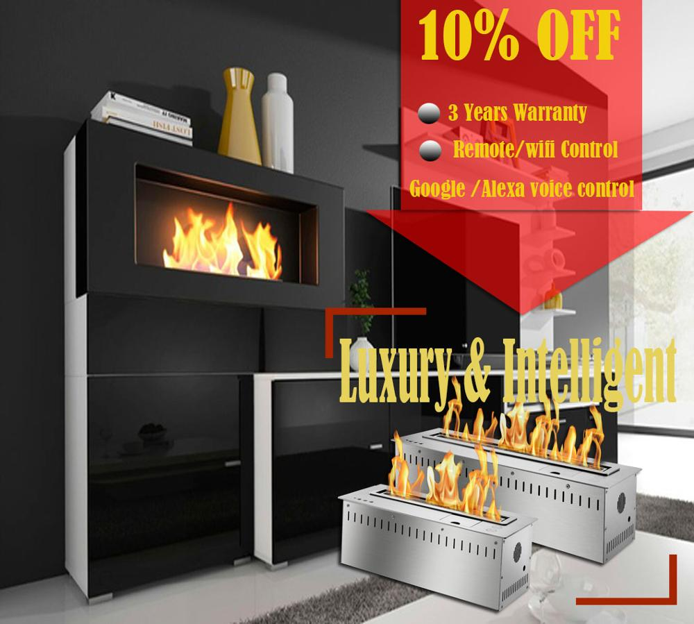 On Sale 24 Inch Wifi Electric Chimney Bioethanol Indoor Modern Fireplace Free Shipping