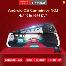 Junsun ADAS Android Mirror Camera Full hd 1080P Dual lens RearView mirror Car DVR wifi 4G Bluetooth GPS Navigator Auto Recorder(China)
