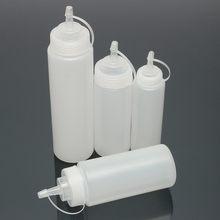 24Oz Squeeze Squirt çeşni yağ şişeleri plastik bal dağıtıcı memeleri ile ketçap soslar için mutfak Gadget aksesuarları