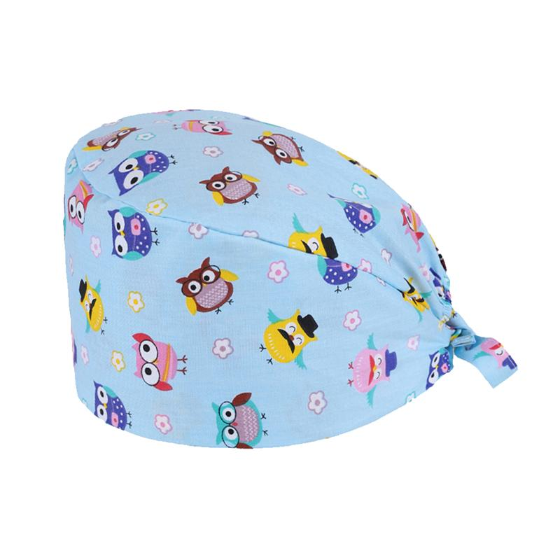 Owl Printed Working Cap Strap Operating Room Nurse Doctor Hat Kitchen Oilproof Chef Hat Creative Headdress