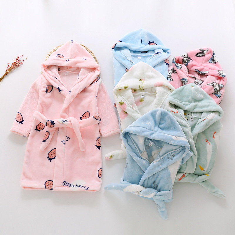 2019 New Style CHILDREN'S Bathrobes Children Flannel Tracksuit Double-sided Plush Lace-up Bathrobe Direct Supply