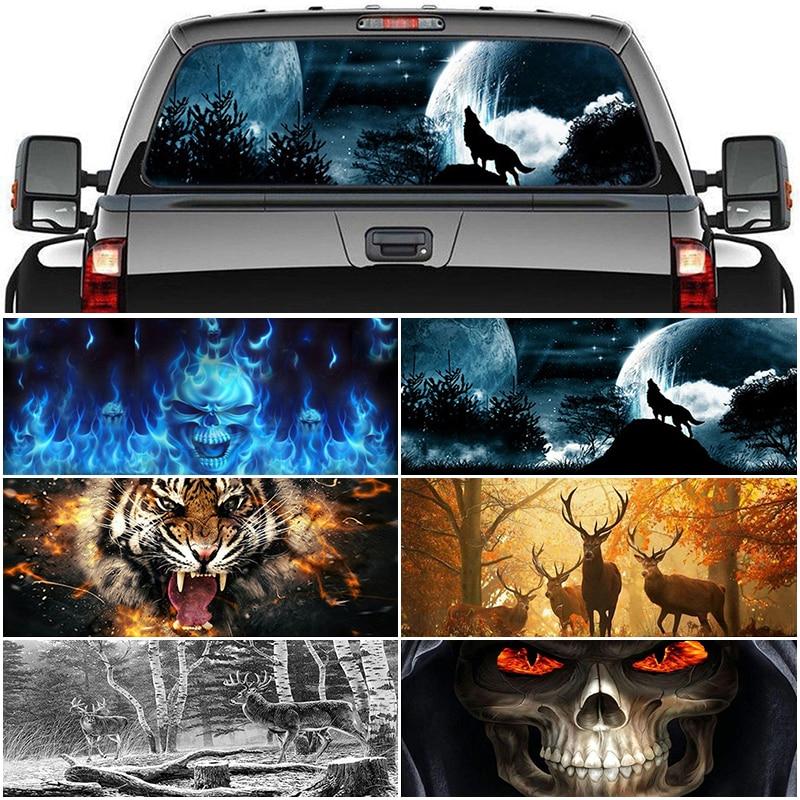 Voor Pickup Auto Verrassing 3D Achter Voorruit Sticker 135X36/146X46 Cm One Way Vision Materiaal oem Unieke Orc Thriller Sticker Scary
