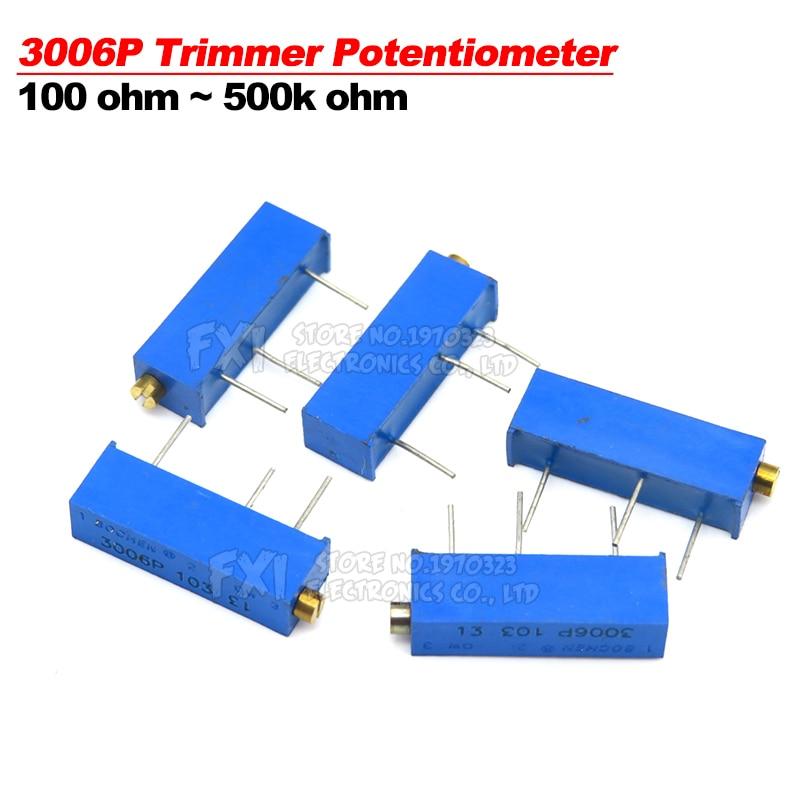 10PCS 3006P 100 ohm ~ 500K ohm potenziometro Trimmer fdkjgecf resistore 1K 2K 5K 10K 20K 50K 100K 200K 500K 1M 100R 200R 500R