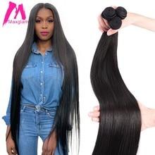 Extensiones de cabello humano brasileño liso, 8 a 30, 40 pulgadas, no remy, extensiones naturales, pelo corto y largo, 1, 3 y 4 piezas