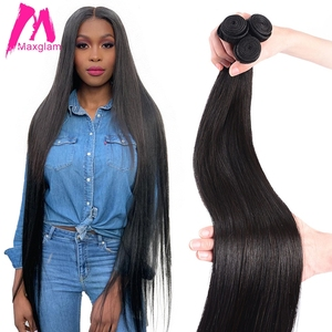 Straight Brazilian Human Hair Bundles Extension Weave 8 to 30 40 inch non-remy Natural Extensions Short Long Hair 1 3 4 Pieces