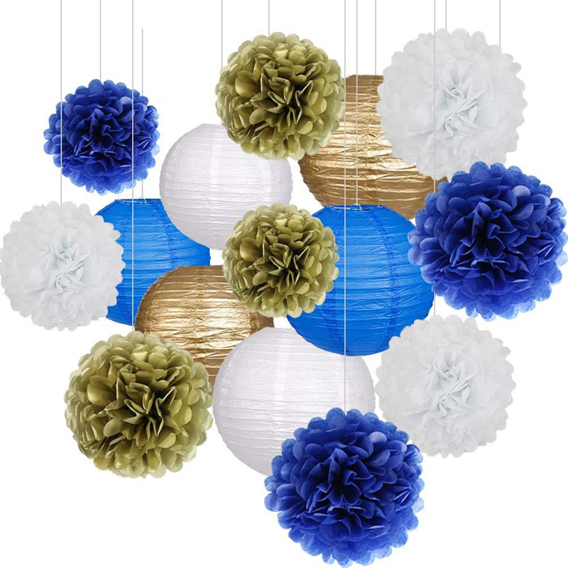 Baby Shower Tissue Paper Pom-poms Flower Ball Lanterns Set Decoration Wedding Gifts Birthday DIY Hanging Festival Party Supplies