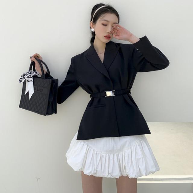 [EWQ] Ball Gown Skirt Side slits cross belted blazer chic black coats high waist queen office clothing 2-piece set 2021 summer 5