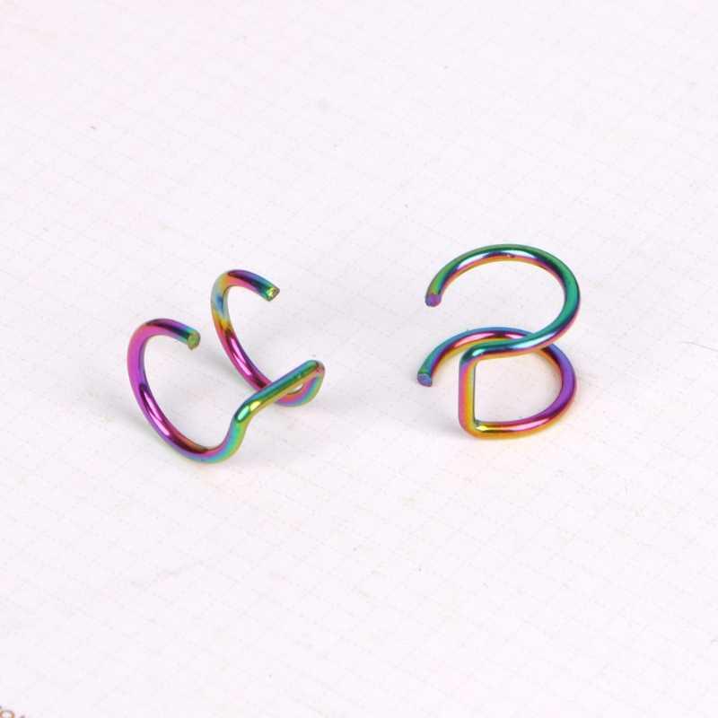 ไทเทเนียม 2 แหวนหูข้อมือคลิปบน Helix กระดูกอ่อนแหวนไม่มี Piercing Body เครื่องประดับ