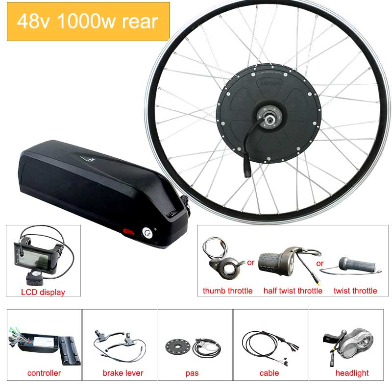 Electric Bicycle Conversion Kit 48V 1000W 26inch 700C bike EBike Rear Motor Wheel e bike conversion kit with battery