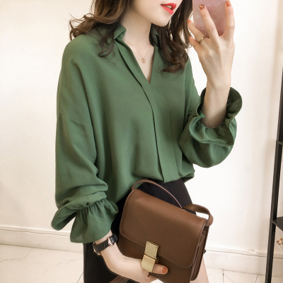 2020 spring new Korean version of the commuter loose was thin solid color chiffon casual blouse
