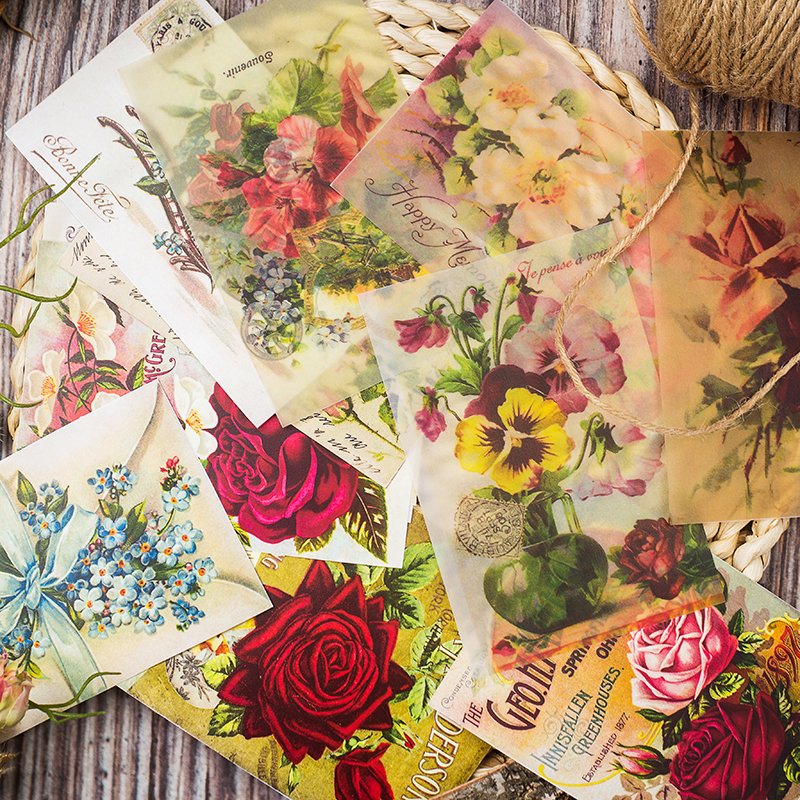 12pcs/Bag Vintage Flowers Vellum Paper Pattern Pack For Scrapbooking Happy Planner Card Making Junk Journal Project