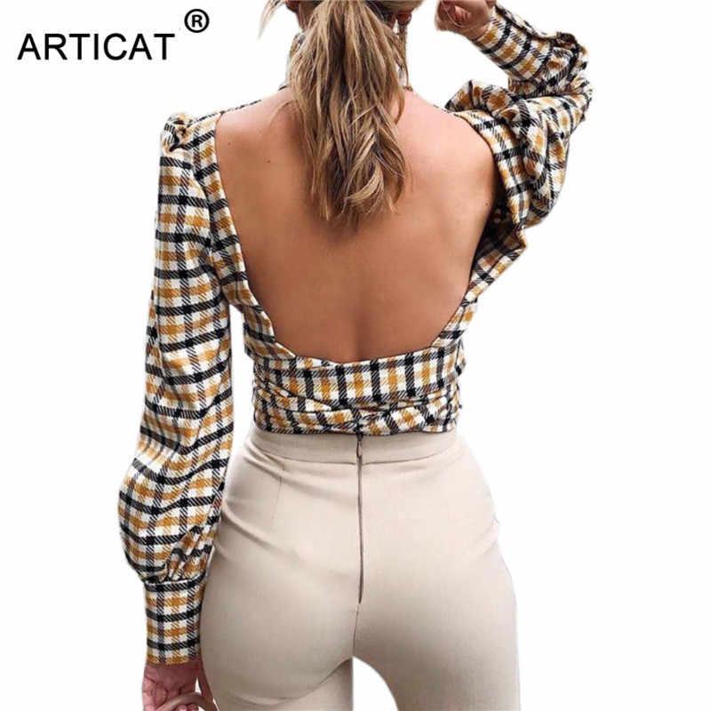Articat Sexy Backless Coltrui Plaid Gedrukt Vrouwen Shirts Lange Mouwen Elegant Lace up Blouse Vrouwelijke Mode Zomer Streetwear