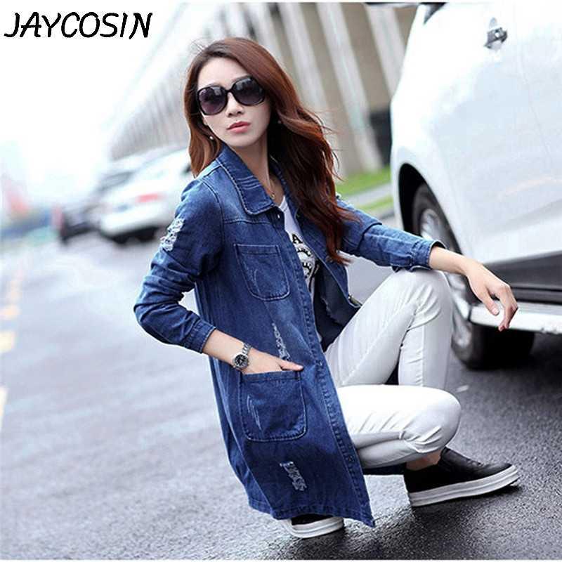 JAYCOSIN chaqueta de mezclilla para mujer bolsillos rasgados agujero largo Jeans abrigo Casual deshilachado chaquetas básicas de mezclilla para mujer sobretodo