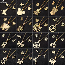 Shuangshuo Gold Aniaml Necklace Set Mickey Bridal Jewelry Sets for Women Girls Cute Lovely Punk Stainless Steel Jewelry Femme(China)