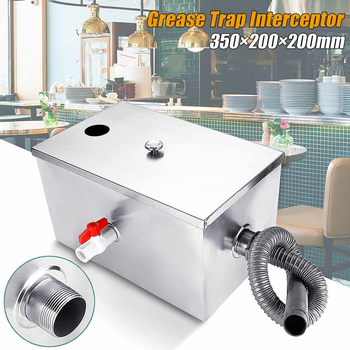 ECO-WORTHY Stainless Steel Grease Trap Interceptor 2 Inlets for Restaurant Kitchen Wastewater 300*280*280mm
