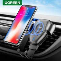 Ugreen carregador sem fio suporte do telefone carro para samsaung s10 s9 rápido carregamento sem fio para o iphone x xr 8 xiaomi qi carregador sem fio