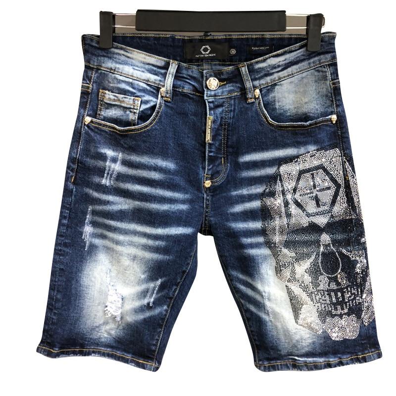 bags PP men's European fashion embroidery skull casual fit elastic straight leg jeans fashion men's pants original high quality