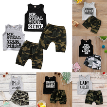 Camouflage Baby Boy Clothes Kids Clothes Set Summer 2019 Cotton 2Pcs Sleeveless Tops+Soft Pant 0-2 Years Toddler Boy Clothes D35 format kids boy 16