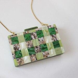 Image 5 - Brand Fashion Designer Women New Acrylic Green Beige Patchwork Evening Bag Luxury Party Handbag Woman Casual Box Clutch Purse