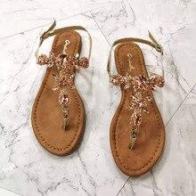 Female Sandal Diamond-Buckle Casual-Shoes Rhinestones Roman Women Gladiator Fashion Flat