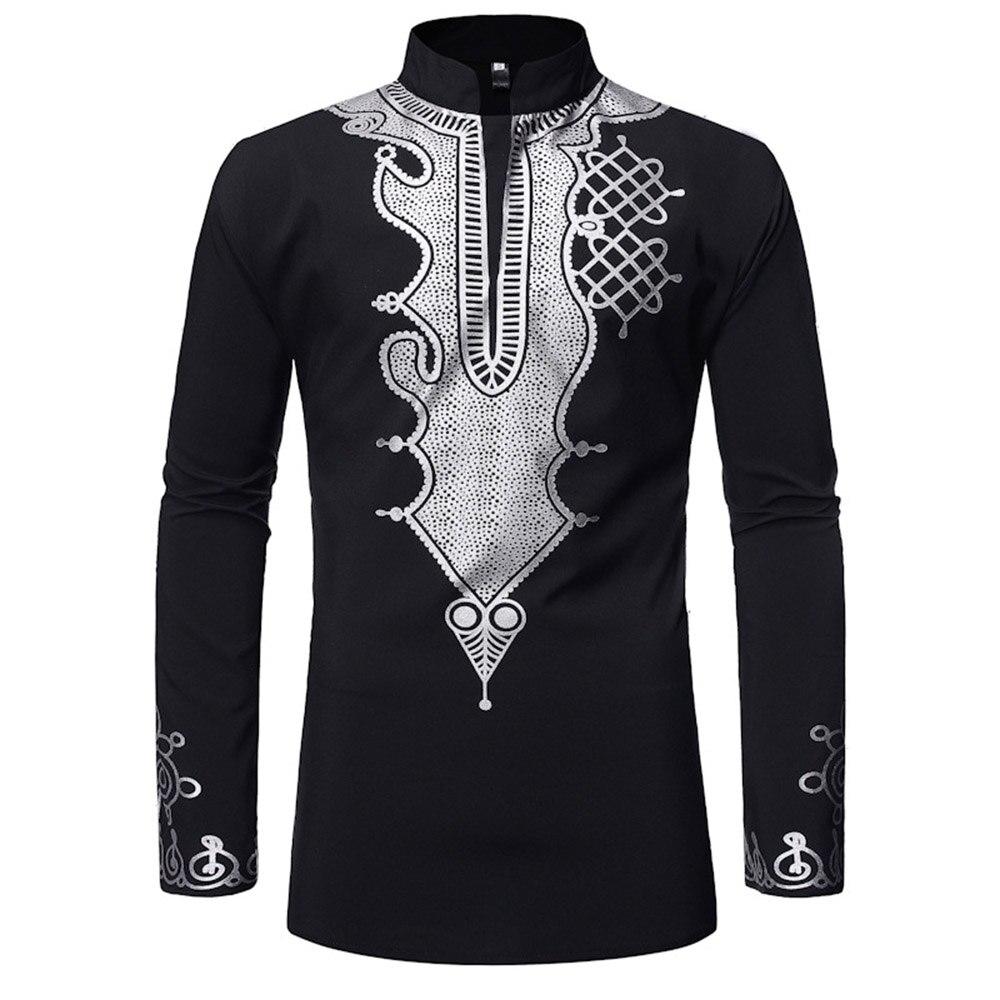 PASATO New Sale!Mens Autumn Winter Luxury African Print Long Sleeve Dashiki Shirt Top Blouse Clearance
