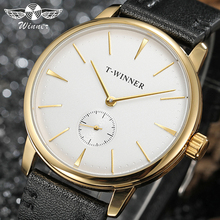 T-WINNER fashion simple casual men's and women's watches white dial gold case bl