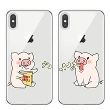 Cute Cartoon Pig Print Phone Case For iphone 6 s 8 7 plus XS Max X XR Soft Cover Fashion Couple Cases Matte Capa