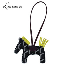 New creative pu cute horse key ring pendant ladies bag car jewelry children birthday gift